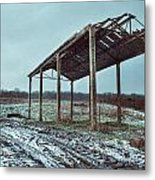 Old Barn In The Snow Metal Print