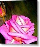 Painted Pink Rose Metal Print