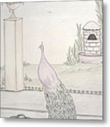 Peacock In An Italian Landscape Metal Print by Christine Corretti