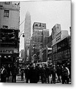 Pedestrians Crossing Crosswalk Outside Macys 7th Avenue And 34th Street Entrance New York Winter Metal Print by Joe Fox