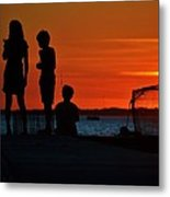 Perfect Ending - 3 Friends On A Pier As The Hot Summer Sun Sets On The Indian River Bay Metal Print
