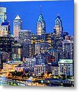 Philadelphia Skyline At Night Evening Panorama Metal Print