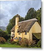 Picturesque Thatched Roof Cottage In Selworthy Metal Print