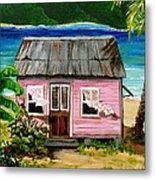 Pink Caribbean House Metal Print
