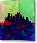 Pittsburgh Watercolor Skyline Metal Print
