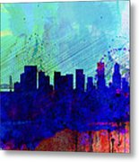 Portland Watercolor Skyline Metal Print