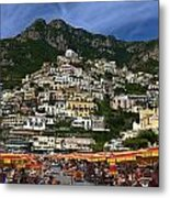 Positano Crowded Beach Metal Print