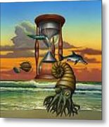 Prehistoric Animals - Beginning Of Time Beach Sunrise - Hourglass - Sea Creatures Square Format Metal Print