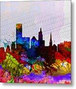 Providence Watercolor Skyline Metal Print
