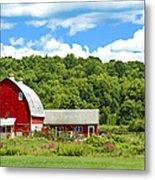 Red Farmstead In Summer Metal Print