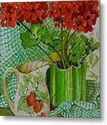 Red Geranium With The Strawberry Jug And Cherries Metal Print