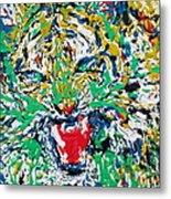 Roaring Enamel Tiger Metal Print
