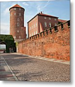 Sandomierska Tower And Wawel Castle Wall In Krakow Metal Print