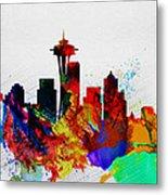 Seattle Watercolor Skyline 2 Metal Print