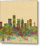 Skyline Of Detroit Usa Metal Print