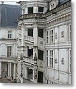 Spiral Staircase In The Francois I Wing - Chateau Blois Metal Print