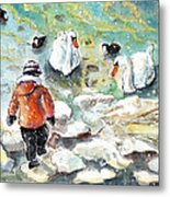 The Child And The Birds On Lake Constance Metal Print