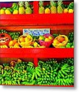 No Squeezing The Fruits Metal Print