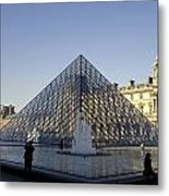 The Glass Pyramid Of The Musee Du Louvre In Paris France Metal Print