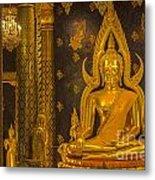 The Main Hall Of Wat Thardtong With Golden Buddha Statue Metal Print by Anek Suwannaphoom