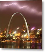 Thunderstorm Over The Arch Metal Print