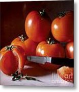 Tomatoes And A Knife Metal Print by Bernard Jaubert