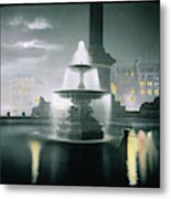 Trafalgar Square At Night  Showing Metal Print