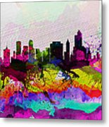 Tulsa Watercolor Skyline Metal Print