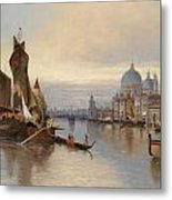 Venetian Scene With A View Of Santa Maria Della Salute Metal Print