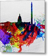 Washington Dc Watercolor Skyline 1 Metal Print by Naxart Studio