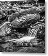 Waterfall Great Smoky Mountains Painted Bw    Metal Print
