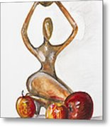 Woman In The African Style  With Red Apples Metal Print