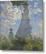Woman With A Parasol Madame Monet And Her Son Metal Print by Claude Monet