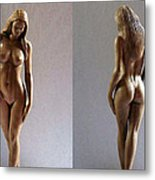 Wood Sculpture Of Naked Woman Metal Print