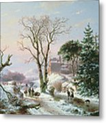Wooded Winter River Landscape Metal Print by  Andreas Schelfhout