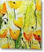 Yellow Poppy 2 - Abstract Floral Painting Metal Print
