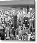 0036 Chicago Skyline Black And White Metal Print
