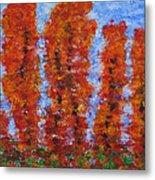 026 Red Trees Metal Print