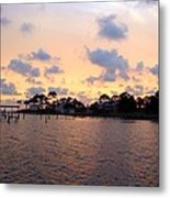 0530 Sunset Tree Silhouette Reflections Metal Print
