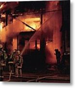 071506-4 Cleveland Firefighters On The Job Metal Print