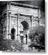 0791 The Arch Of Septimius Severus Black And White Metal Print