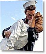 Closeup Nurse And Sailor Kissing Statue Unconditional Surrender Metal Print