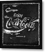 Coca Cola Sign Black And White Metal Print