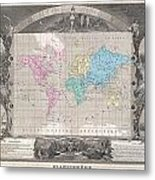 1852 Levasseur Map Of The World Metal Print