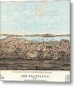 1856 Henry Bill Map And View Of San Francisco California Metal Print