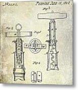 1862 Corkscrew Patent Drawing Metal Print