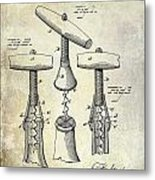 1883 Corkscrew Patent Drawing Metal Print