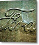 1912 Ford Hood Ornament - Emblem -0496bw Metal Print