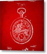 1916 Pocket Watch Patent Red Metal Print