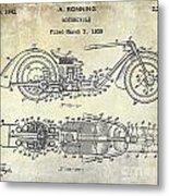 1939 Motorcycle Patent Drawing Metal Print